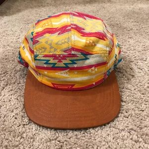 Aztec Style Leather Brim Hat